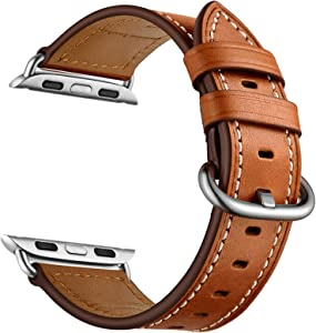 CINORS Leather Watch Band Compatible with Apple iWatch 38mm 40mm Women Genuine Leather Replacement Bands for Series 6 SE 5 4 3 2 1 Brown Strap Silver Adapter 38 40