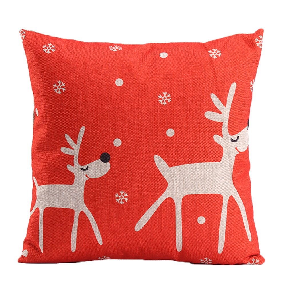 Decorative Throw Pillow Cover Colored Drawing Red Base Reindeer