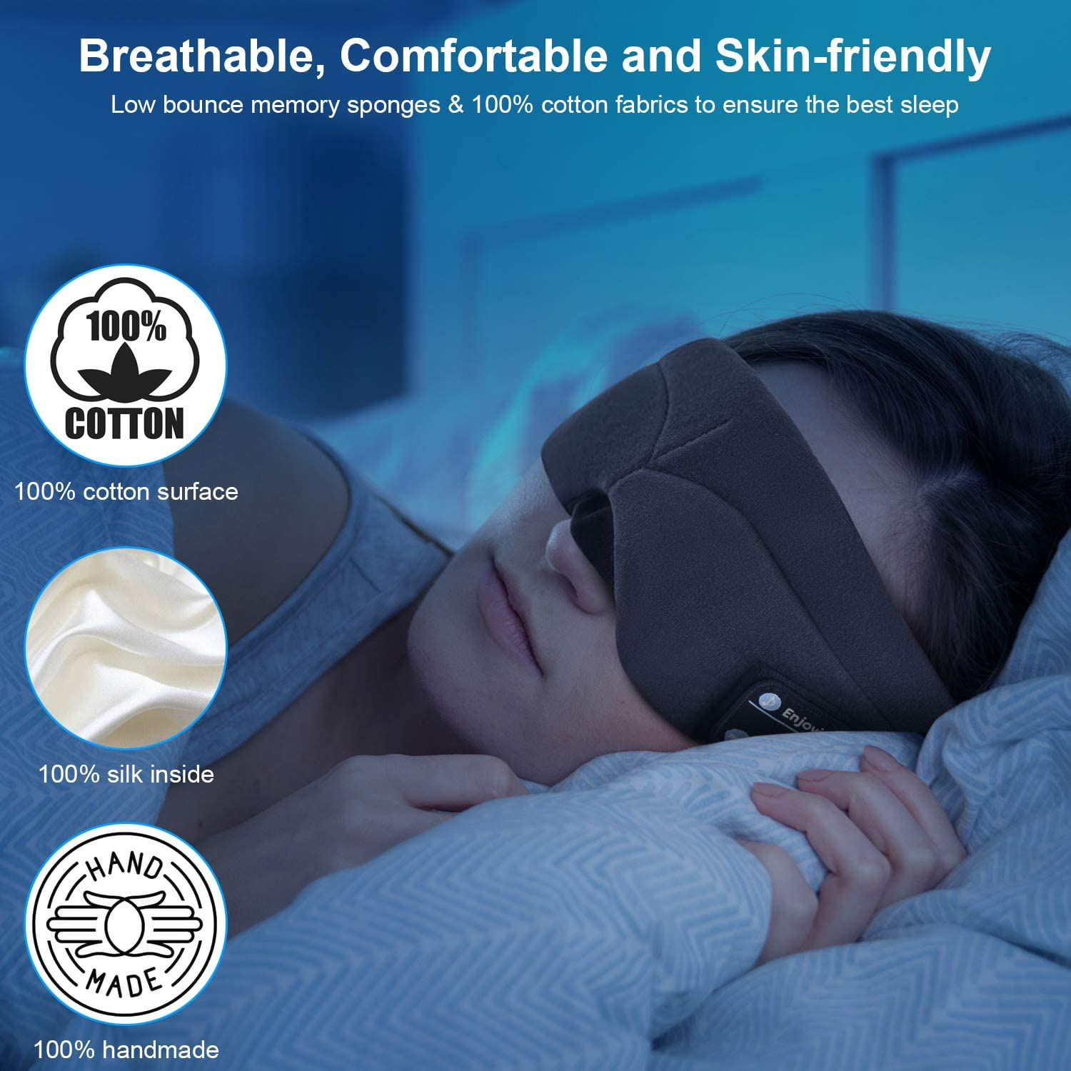 Bluetooth Sleeping Eye Mask with Wireless Headphones,ERNSTING Wireless Bluetooth Music Headset with Adjustable Built-in Speaker and Microphone Calls Washable Perfect for Travel and Sleep Black