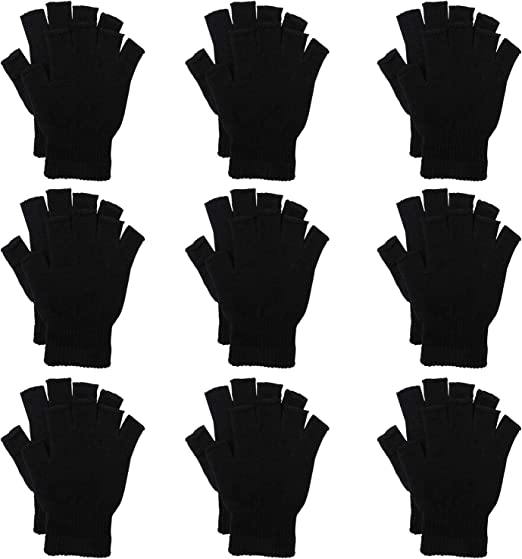 Men Magic Fingerless Glove Work Glove One Size Winter Warm Glove Black