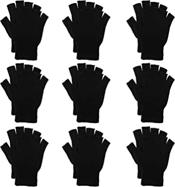 Cooraby 12 Pairs Kids Warm Magic Gloves Knitted Half Finger Mittens Typing Gloves