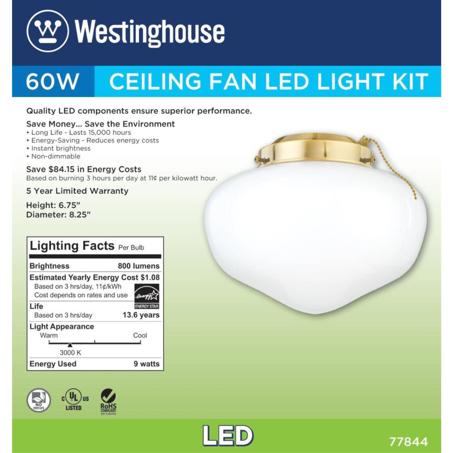 Westinghouse 7784400 LED Schoolhouse Indoor/Outdoor Energy Star Ceiling Fan Light Kit, Polished Brass Finish with White Opal Glass by Westinghouse (Image #4)