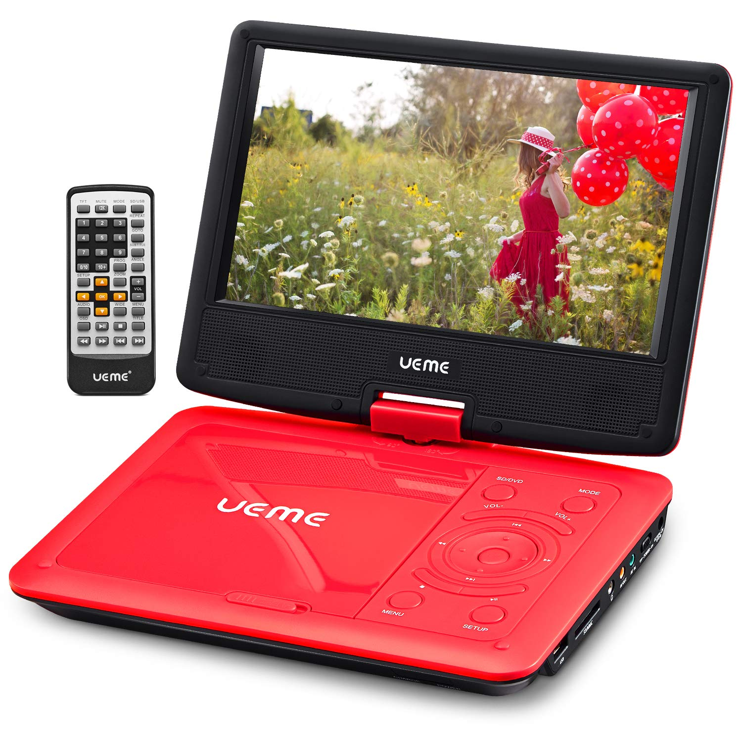 UEME Portable DVD CD Player with 9 Inches Screen, Car Headrest Mount Holder, Remote Control, Built in Rechargeable Battery, Wall Charger, Car Charger, Personal DVD Players (Red)
