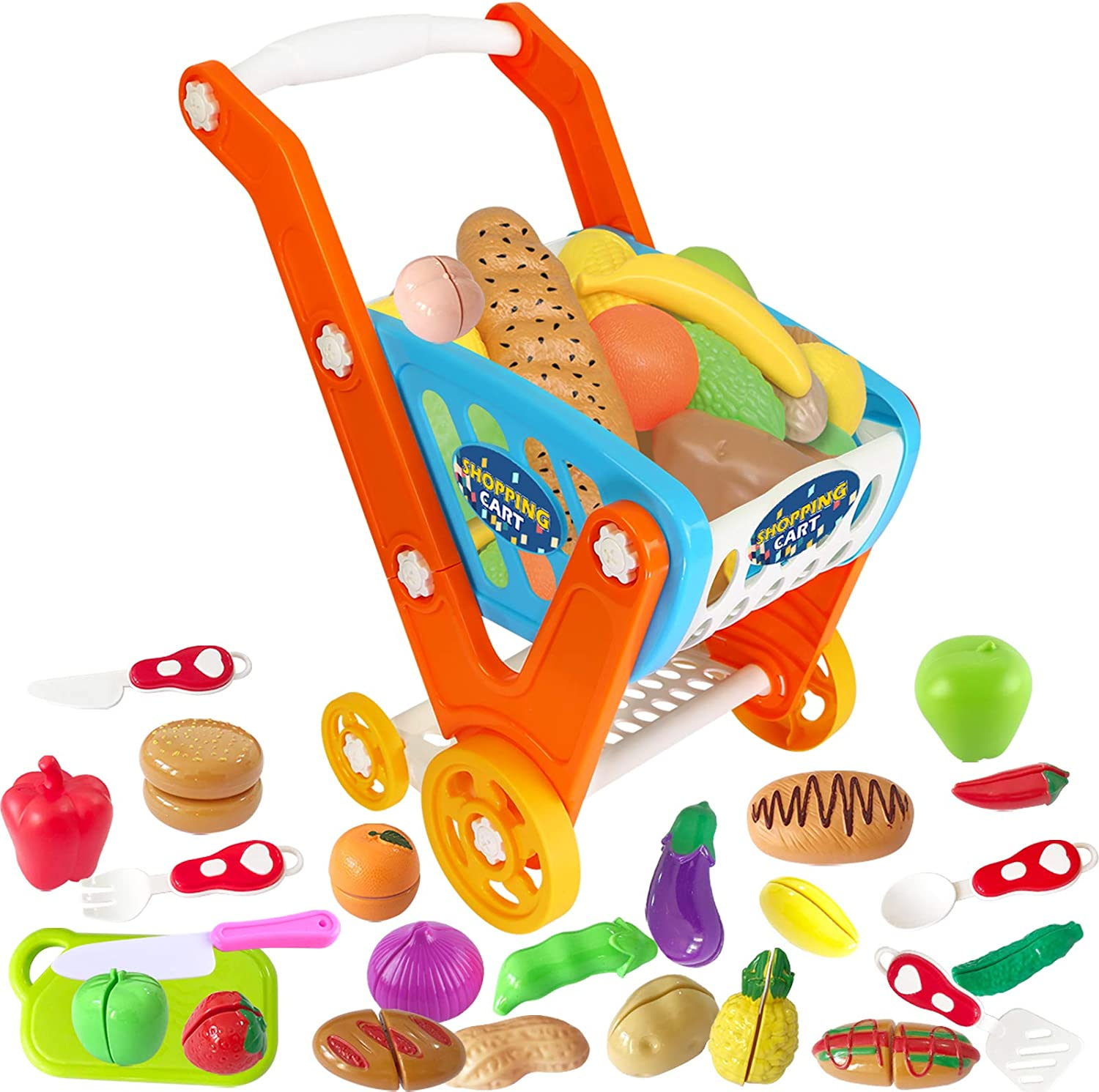 GRESAHOM Kids Shopping Cart,Toddler Shopping Trolley,Large Size Pretend Play Food Set Includes 33pcs Grocery Fruits Vegetables Cutting Board Accessories for 3+ Years Girls Boys