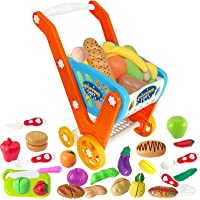 GRESAHOM Kids Shopping Cart,Toddler Shopping Trolley,Large Size Pretend Play Food Set Includes 33pcs Grocery Fruits…