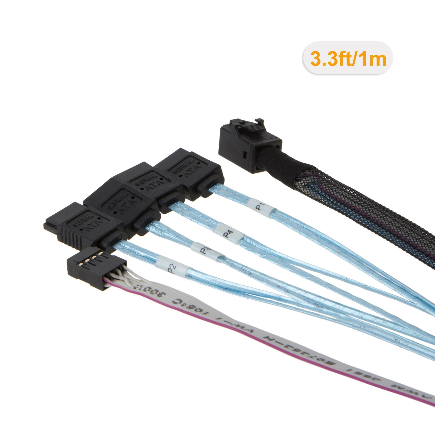 Target 1M /… SFF-8643 for Controller Angle Cable SFF-8643 Host CableCreation Internal HD Mini SAS - 4x SATA 4 Sata Connect to hard drive