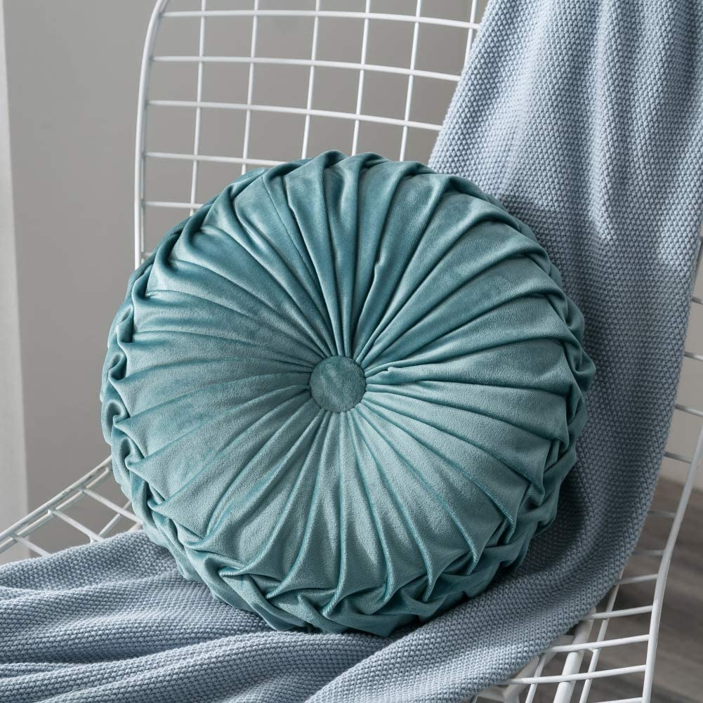 baohuqusihanjin Velvet Pleated Round Pumpkin Cute Throw Pillow Couch Cushion Floor Pillow for Sofa Chair Bed Car Home Decorative Beige