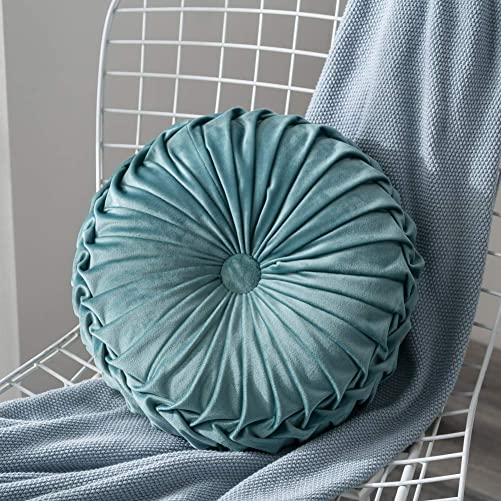 Ingzy 13.7 Velvet Pleated Round Throw Pillow by Pumpkin Couch Cushion Floor Pillow for Home Sofa Chair Bed Room Car Decoration Blue
