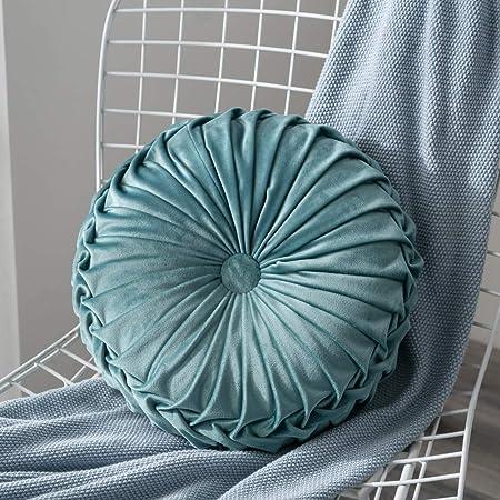 Velluto Pieghettato Rotondo Zucca Cuscini di Tiro Cuscino Decorativo per la casa Cuscino per la Sedia Cuscino Cuscini per Divano, 13.8 Pollici