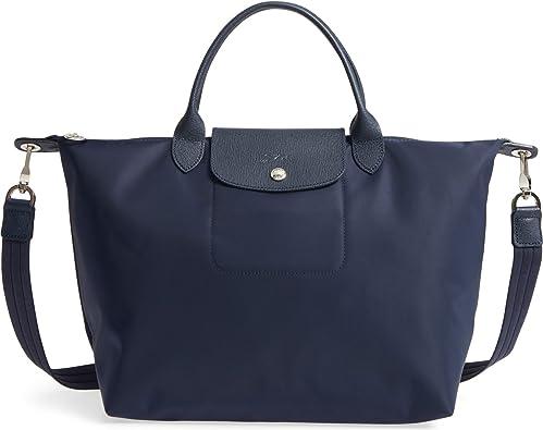 Longchamp 'Medium Le Pliage Neo' Nylon Top Handle Tote Shoulder Bag, Navy