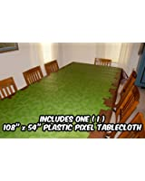 """Pixel Party ToysPixel Mine CrafterStyle PartyTablecloth(108"""" x 54"""")-Fun,VersatileBirthdayTable CoverforIndoor or OutdoorUse, WipesCleaninSeconds- Madefrom Recycled Materials"""