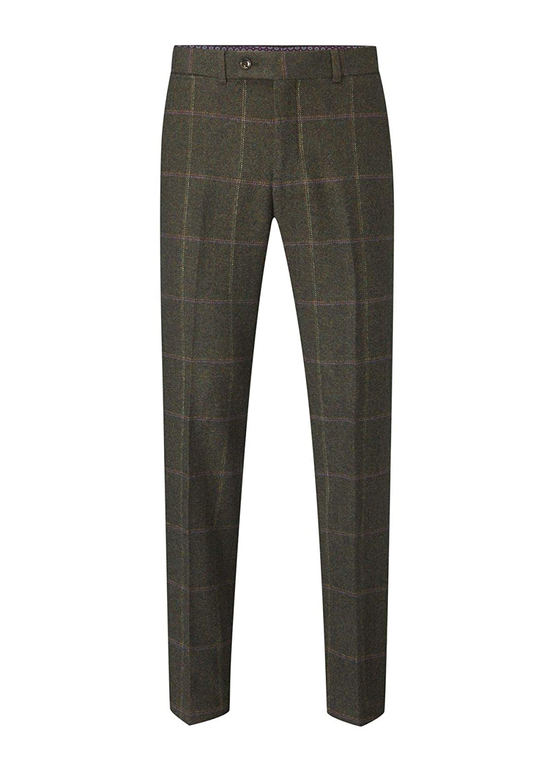 Morfe Skopes Mens Big Size Suit Trousers in Lovat Check