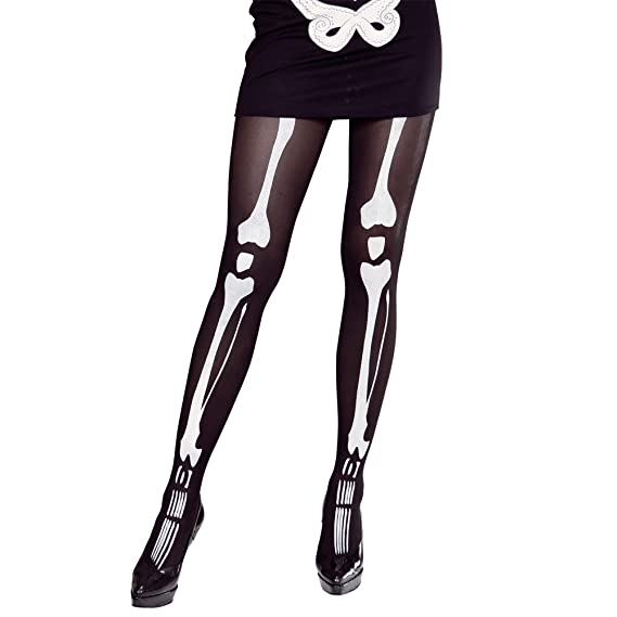 Medias para disfraz con dibujos de huesos/esqueleto para fiesta de hallowen.