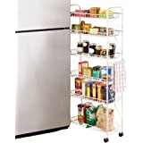 Collections Etc Slim Rolling Pantry 6 Tier Shelf, 10""