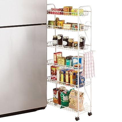 Amazon Com Collections Etc Slim Rolling Pantry 6 Tier Shelf White