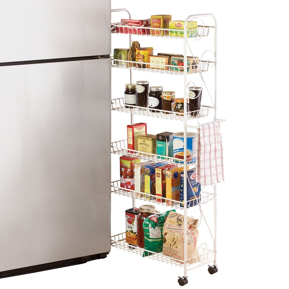 Slim Rolling Pantry 6-Tier Shelf, White Metal with Elegant Scroll Design Accent - Extra Kitchen and Bathroom Storage, 10''