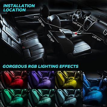 omitium Auto LED-Lichtleiste LED Innenbeleuchtung Auto LED Atmosph/äre Licht 12V 4pcs 48 LED Auto LED Strip RGB Auto Innenraumbeleuchtung mit APPFernbedienung Zigarettenanz/ünder