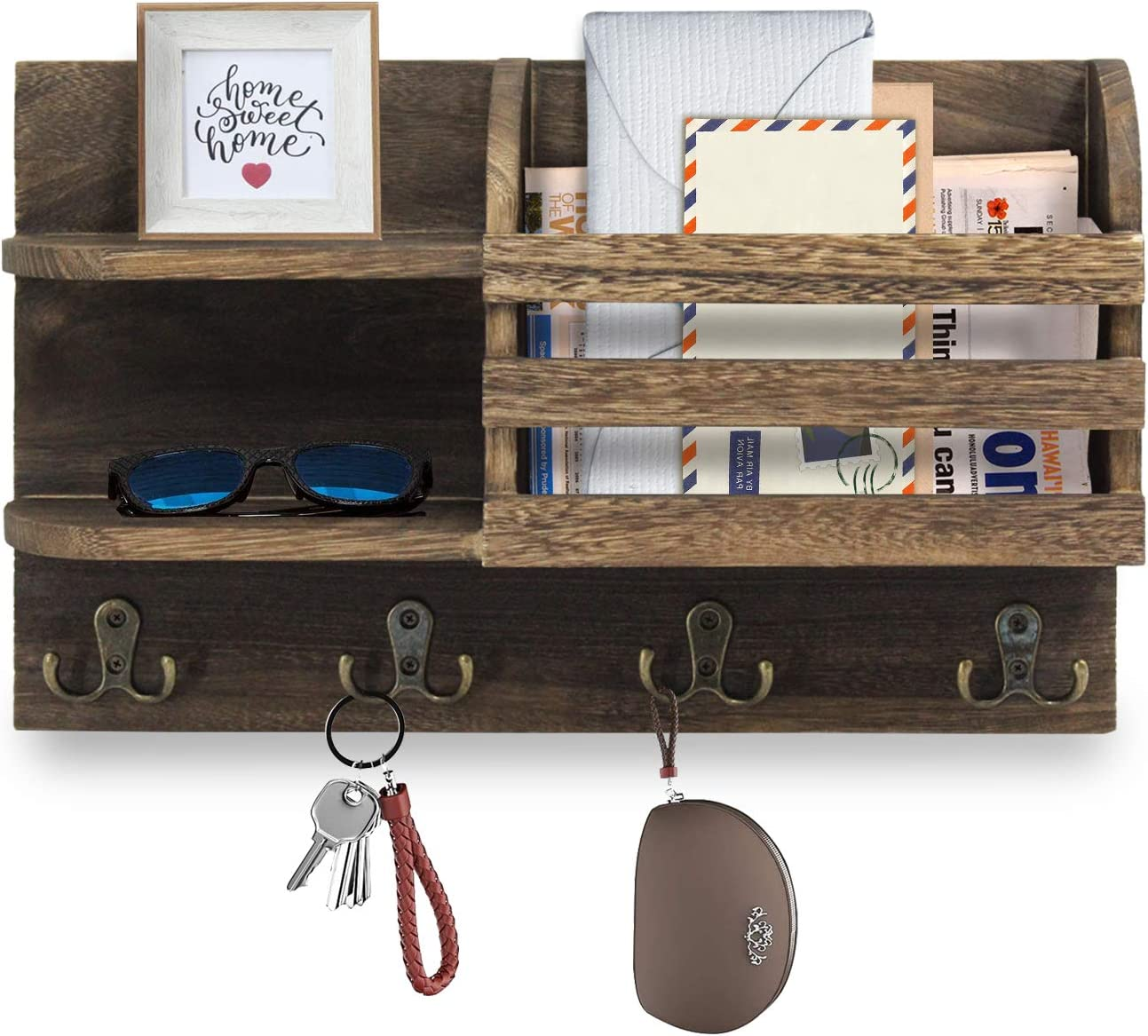 R&MD Wall Mounted Mail Holder Floating Shelves with Hooks, Wood Wall Organizer Sorter for Keys, Letters, Bills, Key Holder for Wall Decorative, Home Decor and Storage for Entryway, Hallway, Kitchen