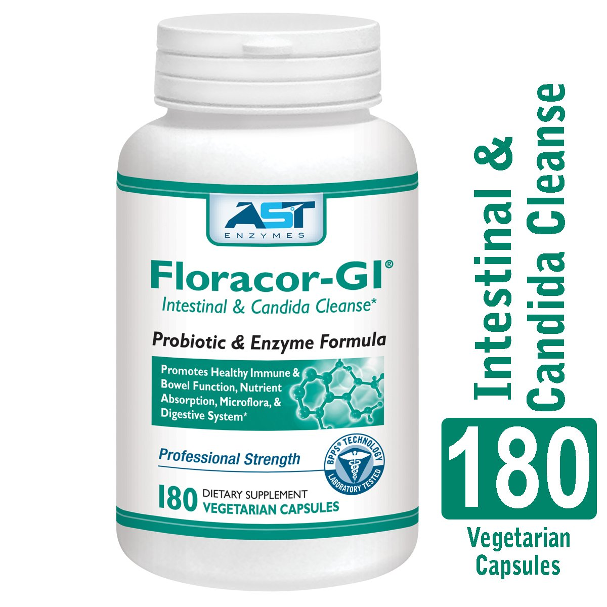Floracor-GI - 180 Vegetarian Capsules - Intestinal and Candida Cleanse for Maximum Absorption - Natural Premium Probiotic, Prebiotic and Enzyme Formula - AST Enzymes