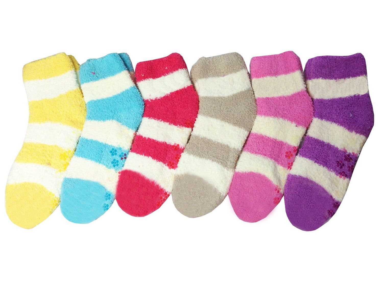 Mamia 6 Pairs Women's Cozy Slipper Socks Fuzzy Sock Multi Color (Style 3)