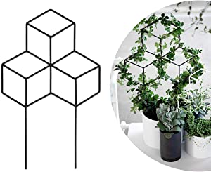 Seway Garden Metal Trellis, Lattice-Shaped Plant Trellis for DIY Potted Climbing Plants Support, Flower Vegetables Rose Vine Pea Ivy Cucumbers, Iron Metal