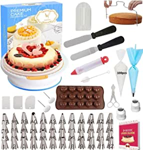 165 pcs Cake Decorating Supplies Kit by Cake Decorating District - includes 48 Icing Tips - Silicone Pastry Bag and Disposable Bags - Spatula Scraper Cutter - Turntable - Silicone Chocolate Candy Mold