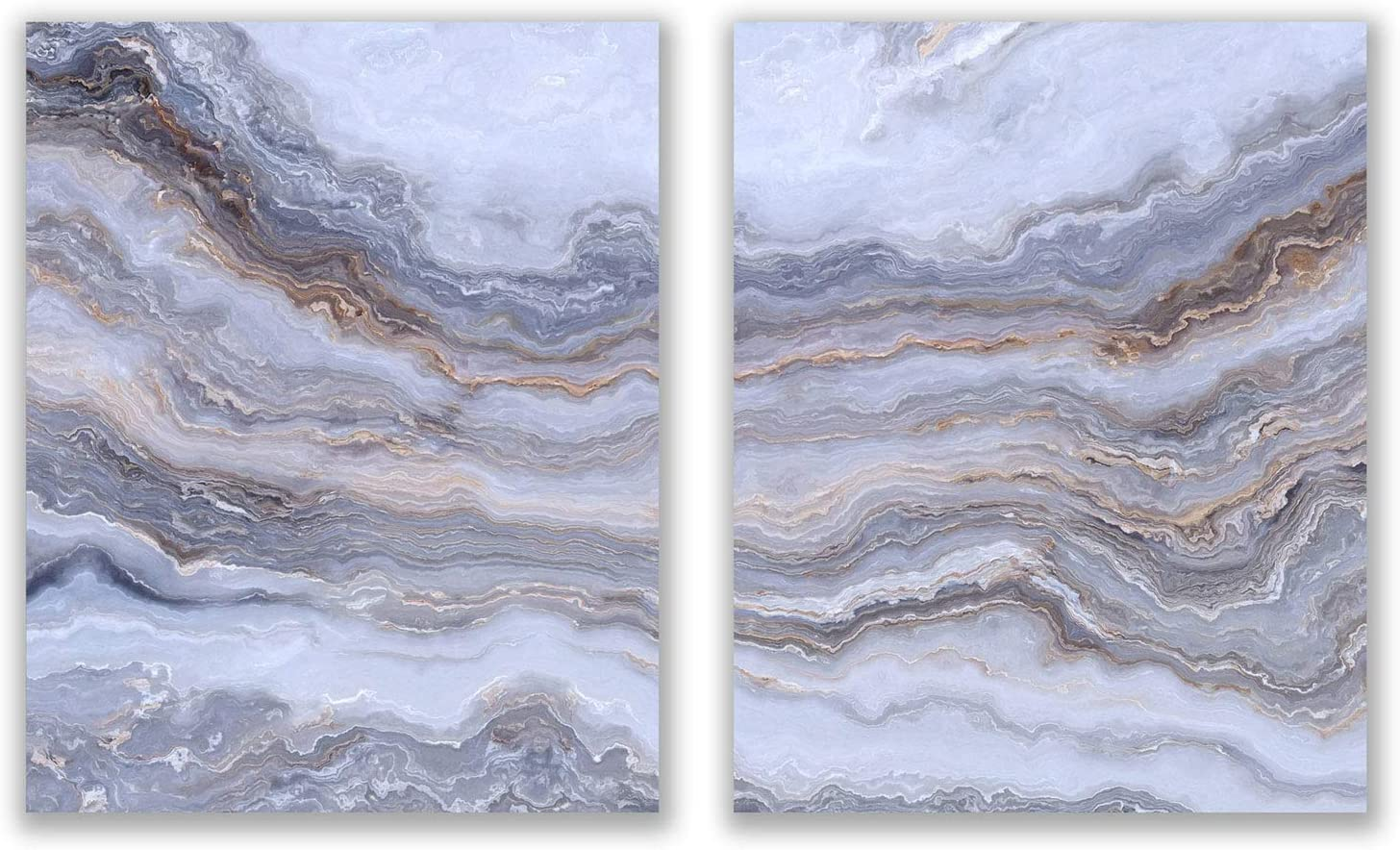 Light Grey Agate Prints - Set of 2 (8x10) Glossy Modern Abstract Geode Gold Marble Wall Art Decor