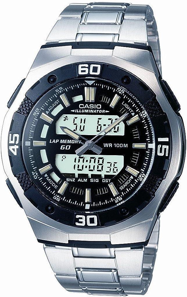 CASIO Collection AQ-164WD-1AVEF - Reloj analógico y Digital de Cuarzo con Correa de Acero Inoxidable para Hombre (cronómetro, Alarma, luz), Color Plateado