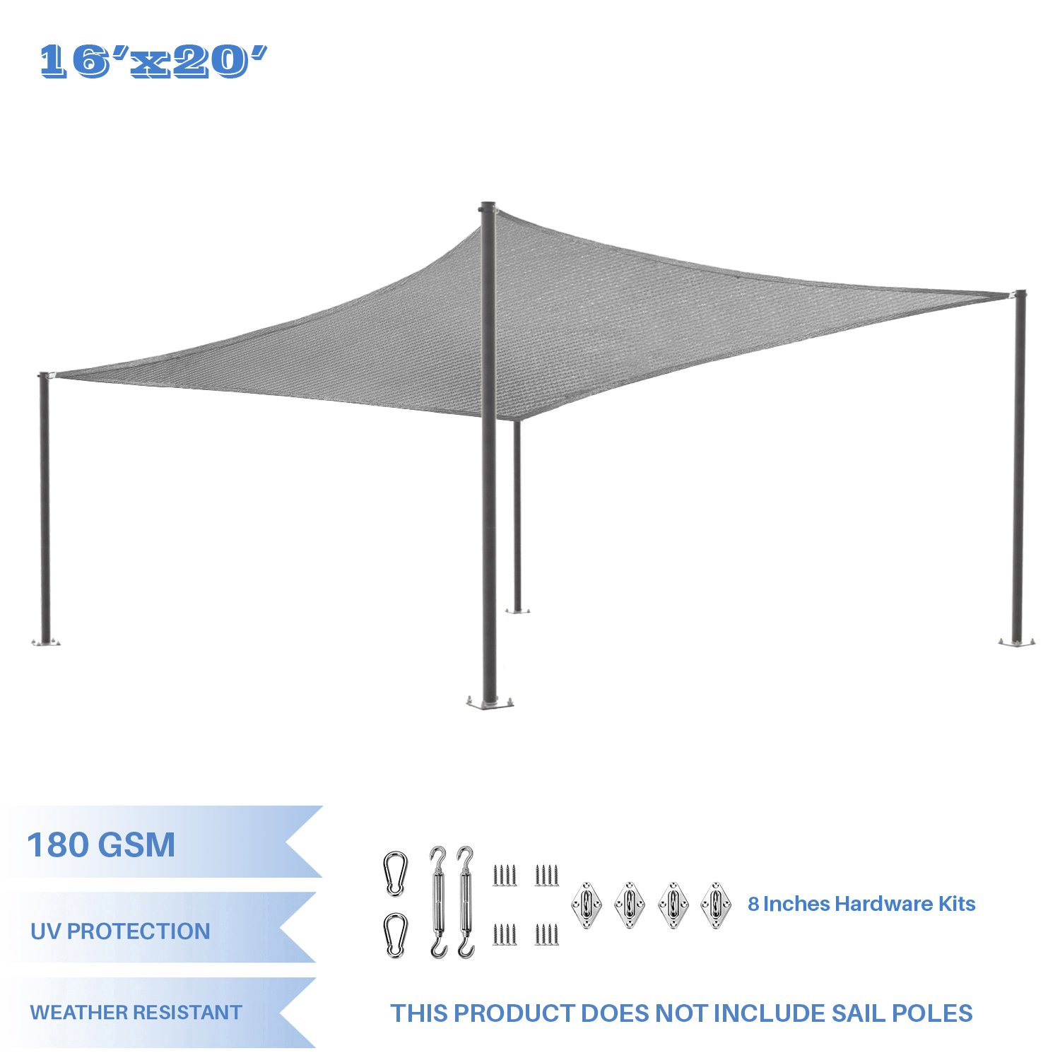 E&K Sunrise 16' x 20' Light Gray Rectangle Sun Shade Sail Stainless Steel Hardware Kit Outdoor Shade Cloth UV Block Fabric,Curve Edge-Customized