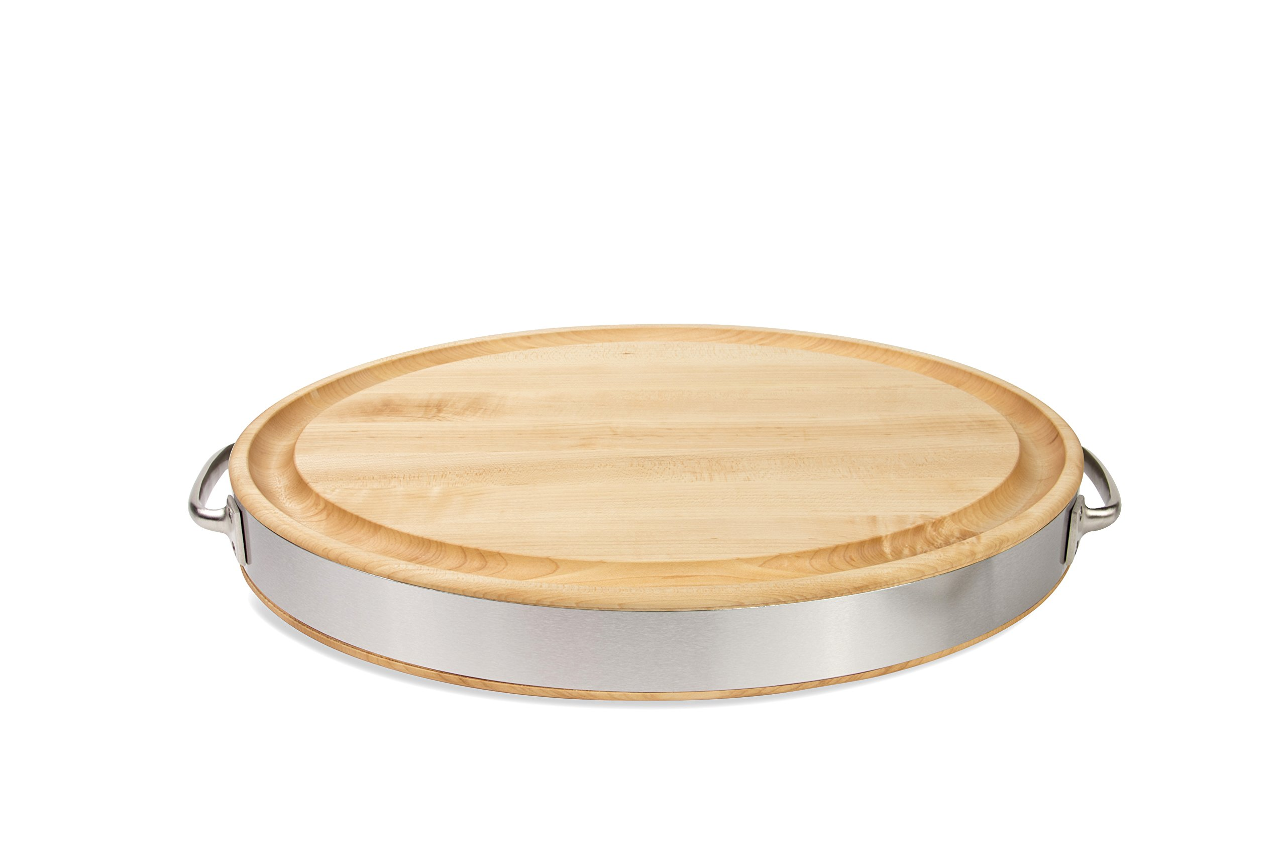 John Boos Maple Wood Edge Grain Reversible Oval Cutting Board with Stainless Steel Handles and Band, 20 by 15 by 2.5'', Maple