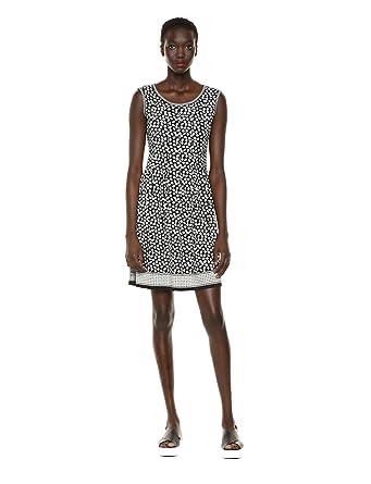 17842daf932495 Max Studio Women's Pleated Printed Matte Jersey Dress, Black/Cream Orchid  Field, x