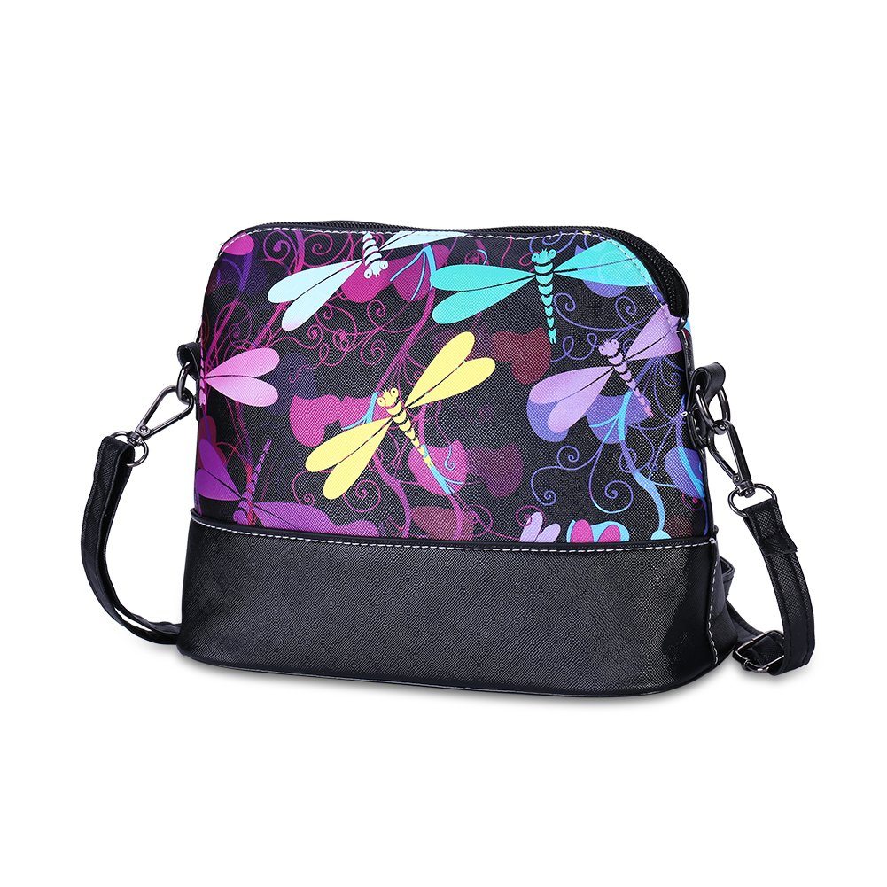 Jopchunm Floral Dragonfly Print Leather Clutch Zipper Handbags Small Crossbody Purses Shoulder Bags for Women
