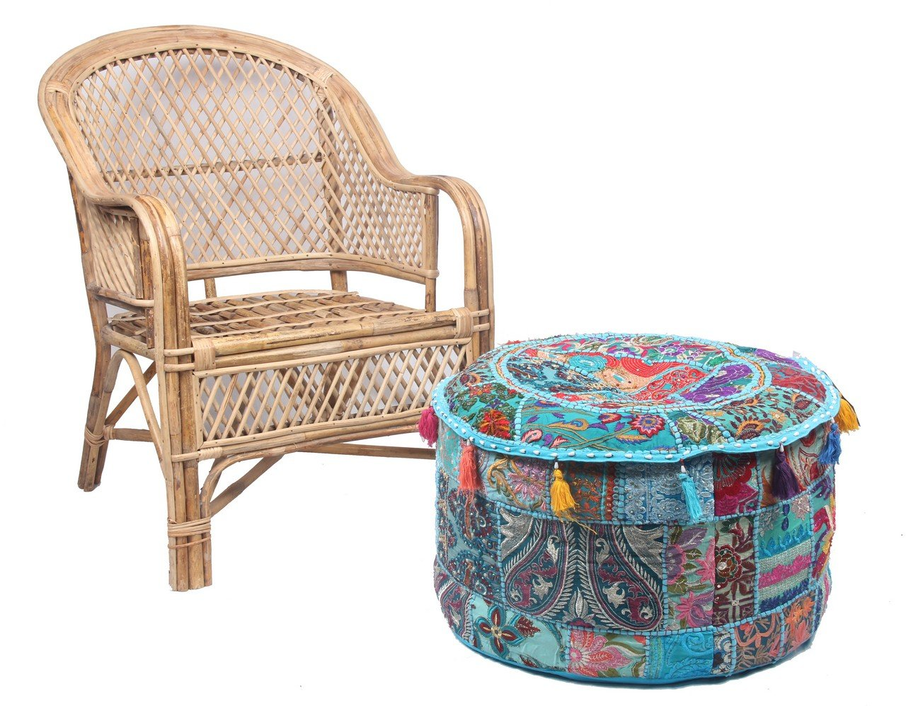JTH Antique Comfortable Floor Cotton Foot Stool Handmade Patchwork Ottoman Pouf Cover (Size: 22X12X22 Inch) Jaipur Textile Hub