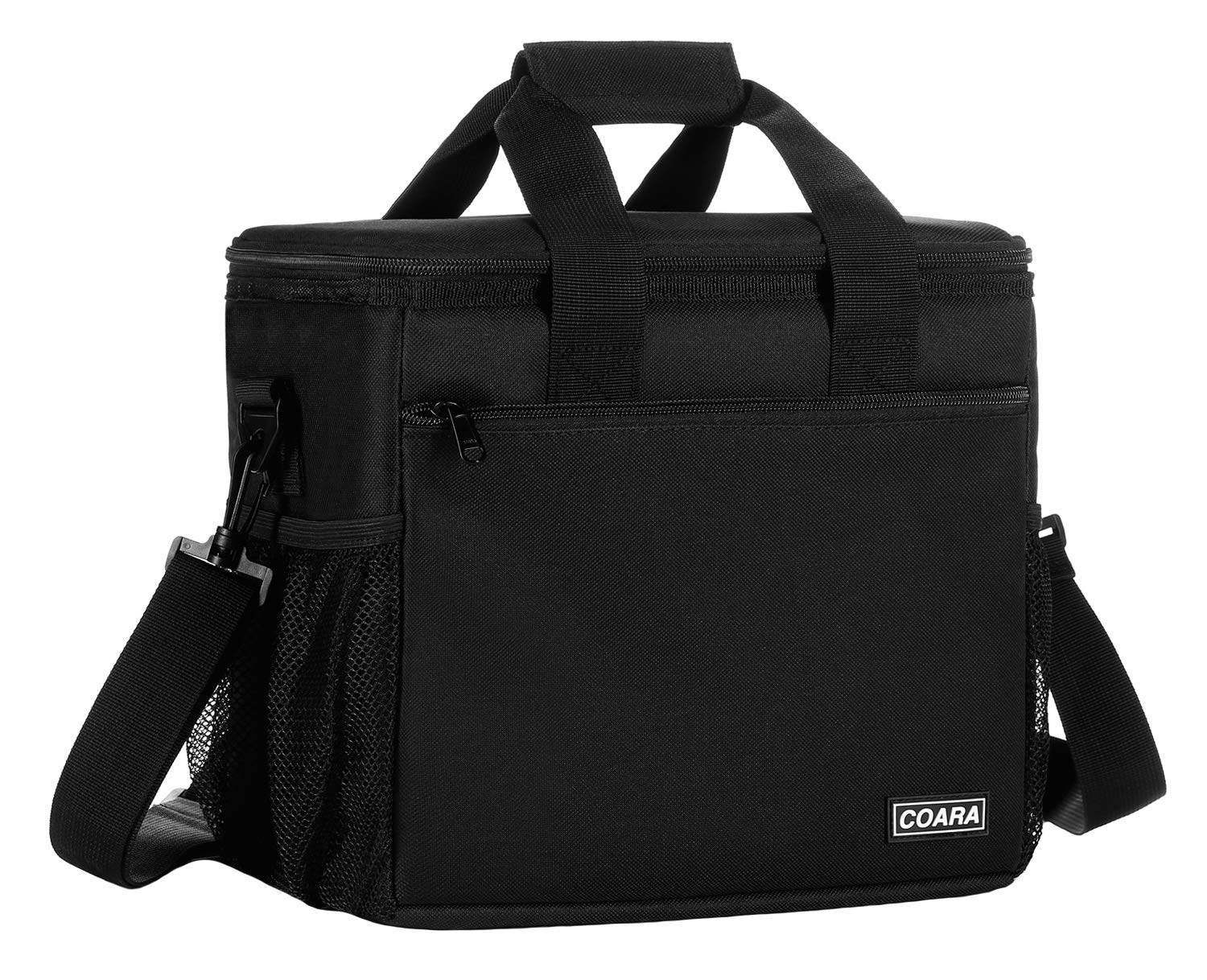 COARA Adult Lunch Box, Insulated Lunch Bag for Men & Women, Large Cooler Tote Bag with Leakproof Liner, Black