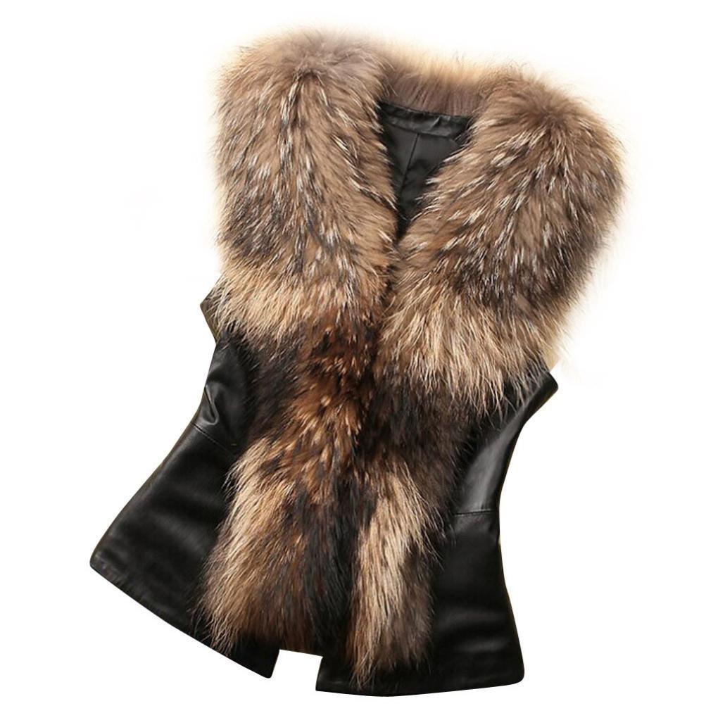 LUQUAN Womens Faux Fur Collar Vest Jacket Sleeveless Winter Warm Waistcoat XXX-Large,Brown