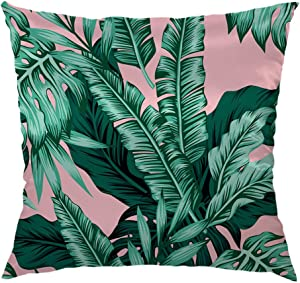 HGOD DESIGNS Banana Leaf Throw Pillow Case,Tropical Green Leaves Satin Pillow Cushion Case Throw Pillow Covers 18x18 inch Green,Pink