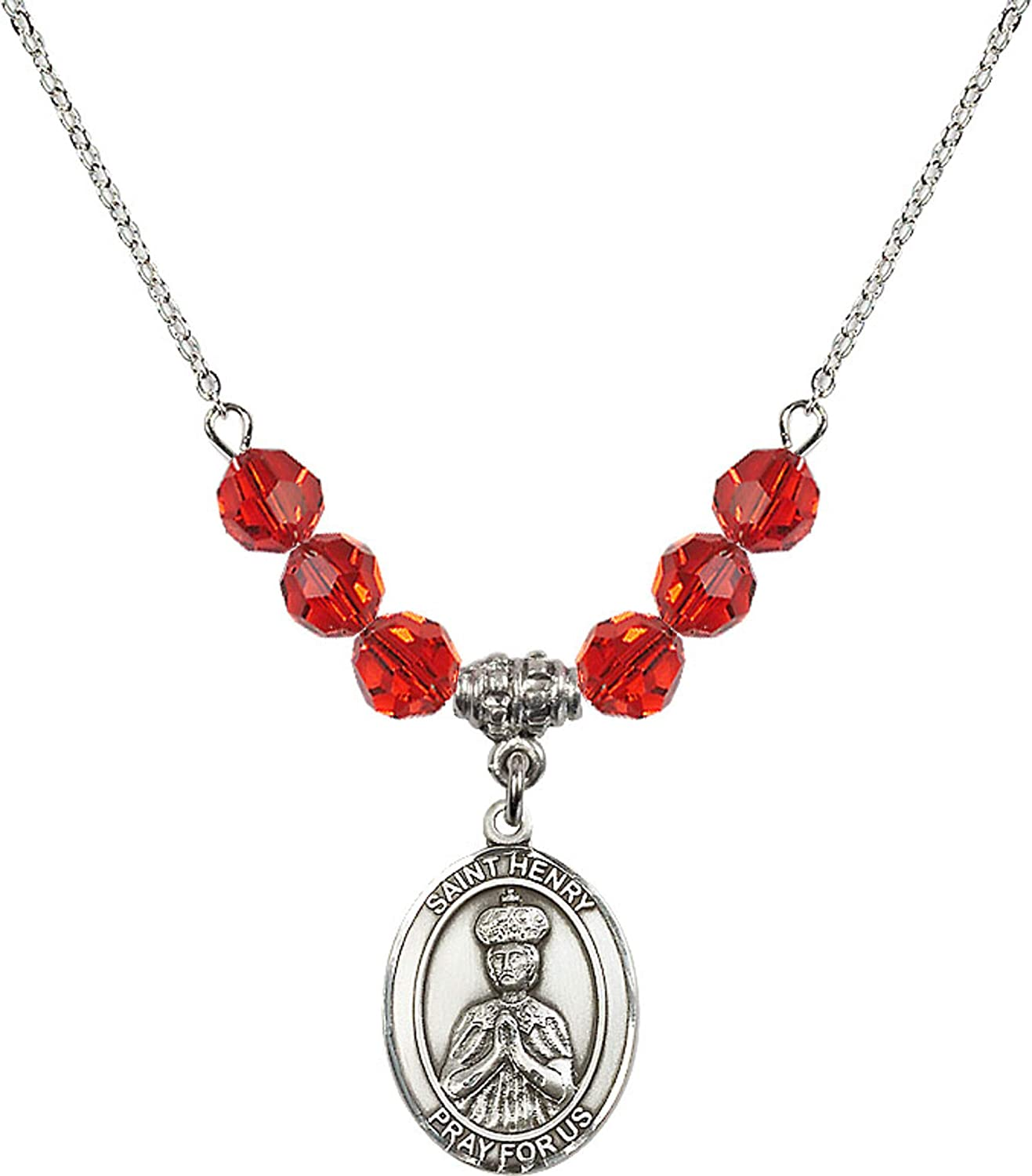 Bonyak Jewelry 18 Inch Rhodium Plated Necklace w// 6mm Red July Birth Month Stone Beads and Saint Henry II Charm