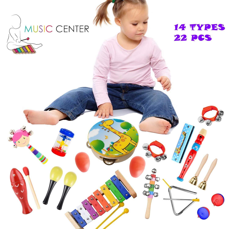 Set di Percussioni per Bambini e Bambine Regali di Compleanno con Borsa per Il Trasporto Pachock Strumenti Musicali per Bambini 22pcs Giocattolo in Legno