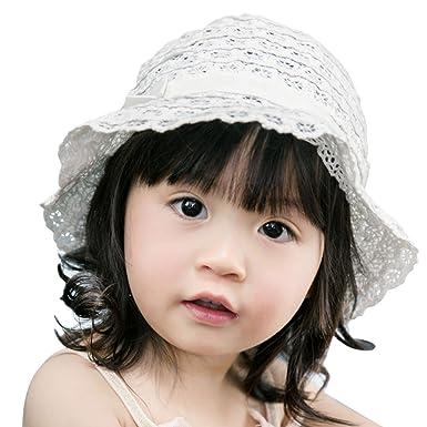 77f62432d2f1a FEOYA Bonnet Soie Bébé Fille Printemps été Chapeau Solaire Dentelle en  Coton Protection en Plein Air
