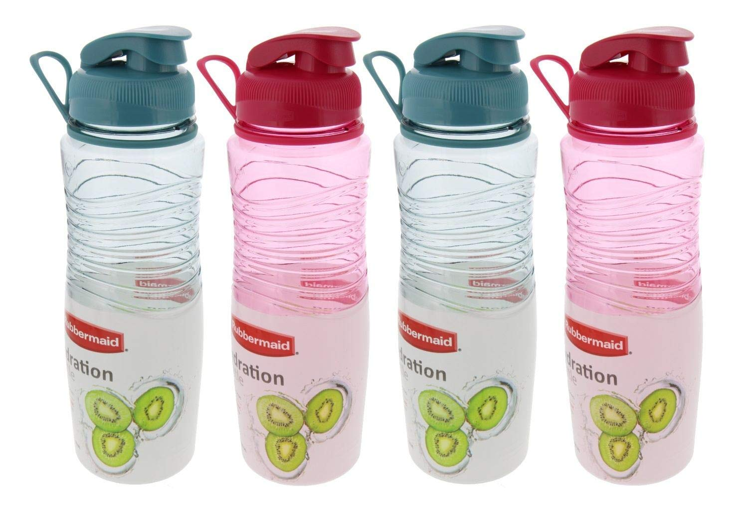 Rubbermaid Hydration Chug Bottles w/Flip-Top Lid-BPA Free, Odor & Stain Resistant-Great for On the Go-Finger Loop & Contoured for Easy Grip, 30oz, (2) Coastal Teal & (2) Magenta Fire (4 Pack)