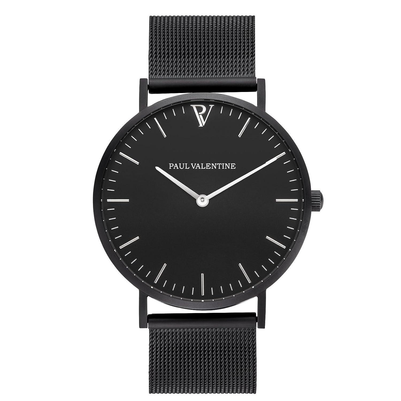 Paul Valentine Armbanduhr | Feliz Black Mesh | Damen & Herren Uhr mit elegantem & zeitlosen Design und feinstem