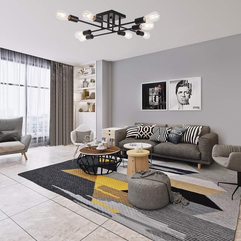 Modern Industrial Metal Ceiling Light – MKLOT 8-Light Vintage Sputnik Black Ceiling Light Semi Flush Mount Antique Style Lighting Fixture for Kitchen Hallway Dining Room Living Room
