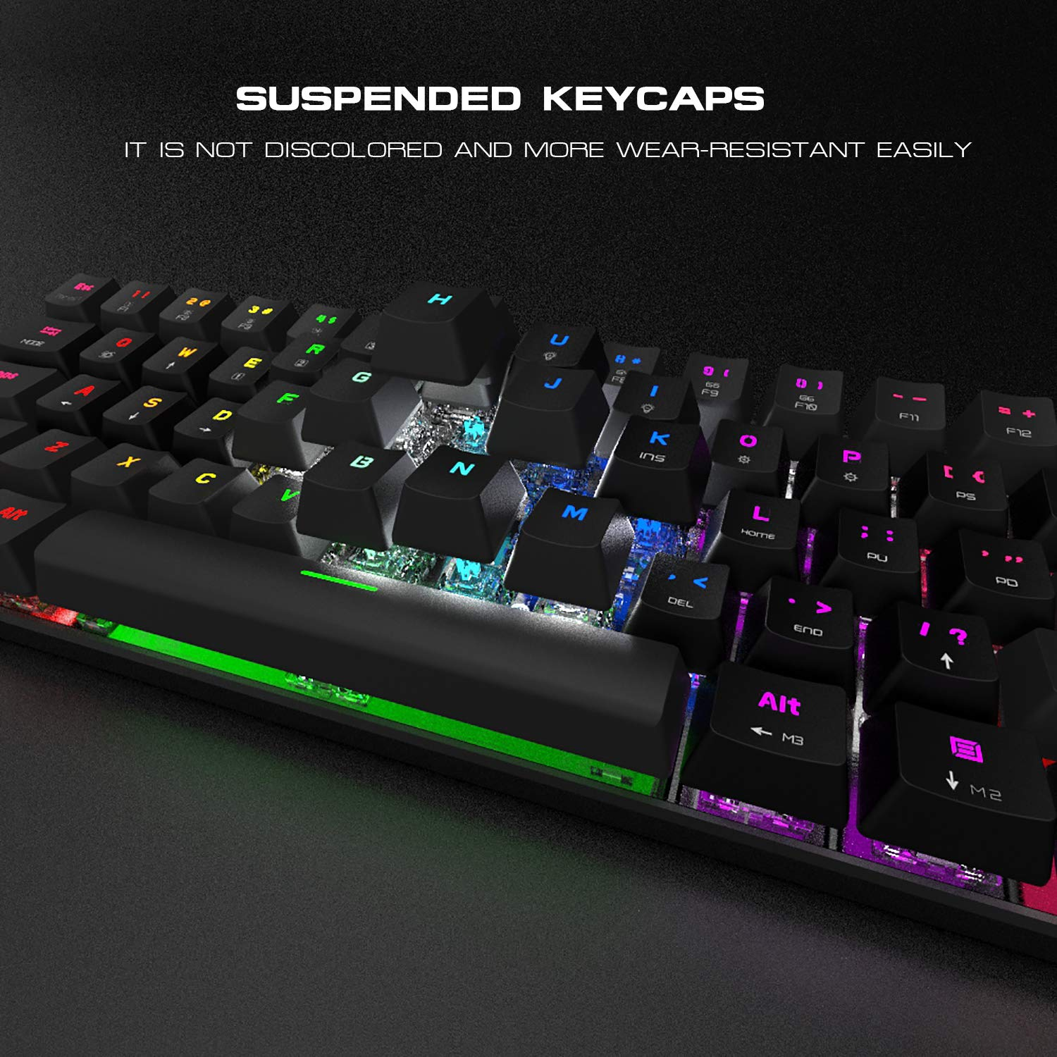 MOTOSPEED 61 Keys Wired//Wireless 3.0 Mechanical Keyboard 60/% RGB LED Backlit Type-C Gaming//Office Keyboard for PC//Mac//Linux//iPad//iPhone//Smartphone//Laptop Blue Switch