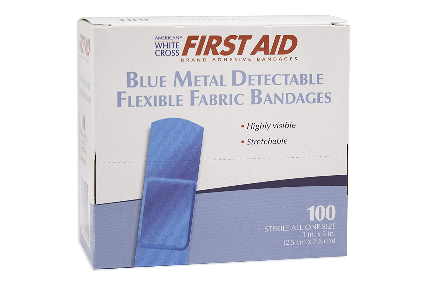 Image of Adhesive Bandages American White Cross Blue Metal Detectable Adhesive Strips, Sterile, Foam, 1' x 3', 3600 per Roll, 6 Roll per Case (Pack of 21600)