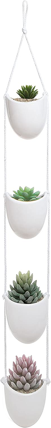 White Ceramic Rope Hanging Planter Set with 4 Flower Pots Plant Containers Decorative Display Bowls