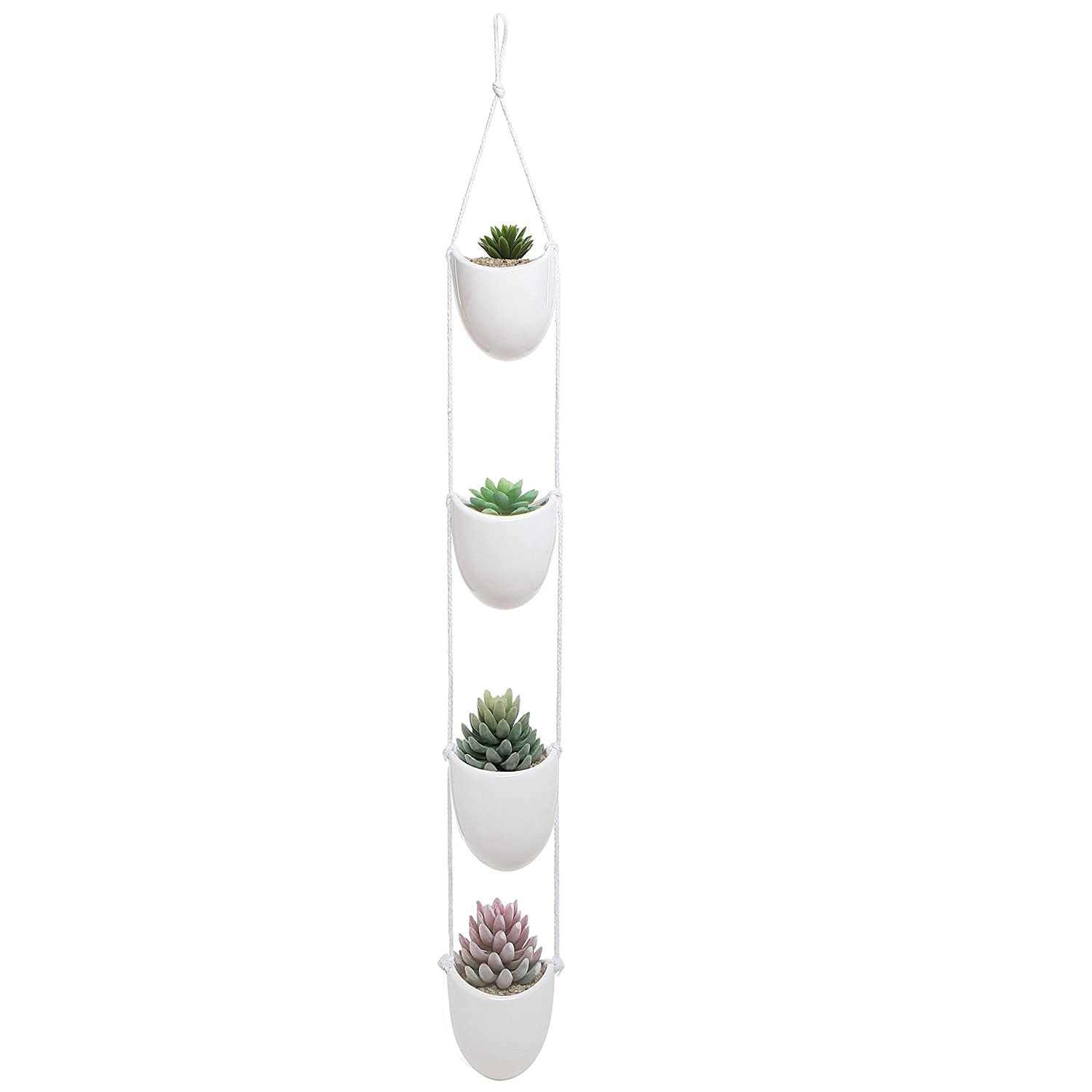 White Ceramic Rope Hanging Planter Set with 4 Flower Pots Plant Containers/Decorative Display Bowls