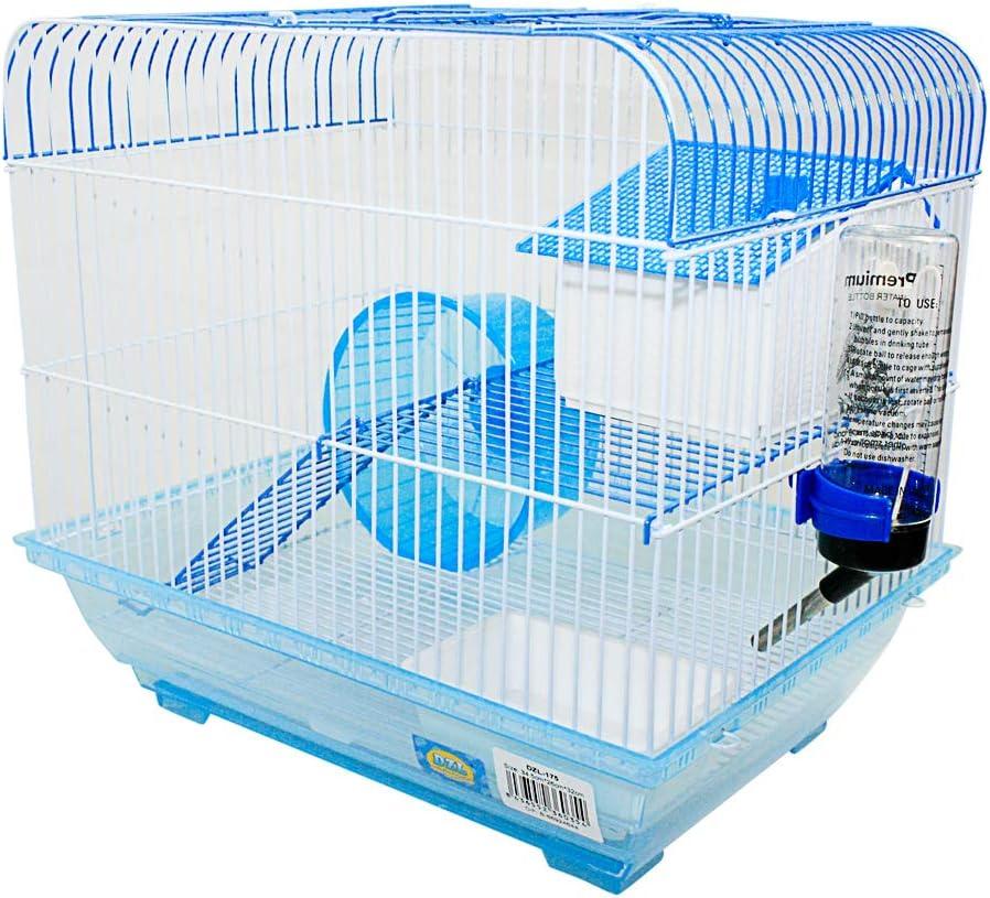 DI ZE LIN PET HOME S.L DZL® Jaula para Hamster 34.5 * 26 * 32cm con caseta Bebedero comedero Rueda y Escalera (Azul)
