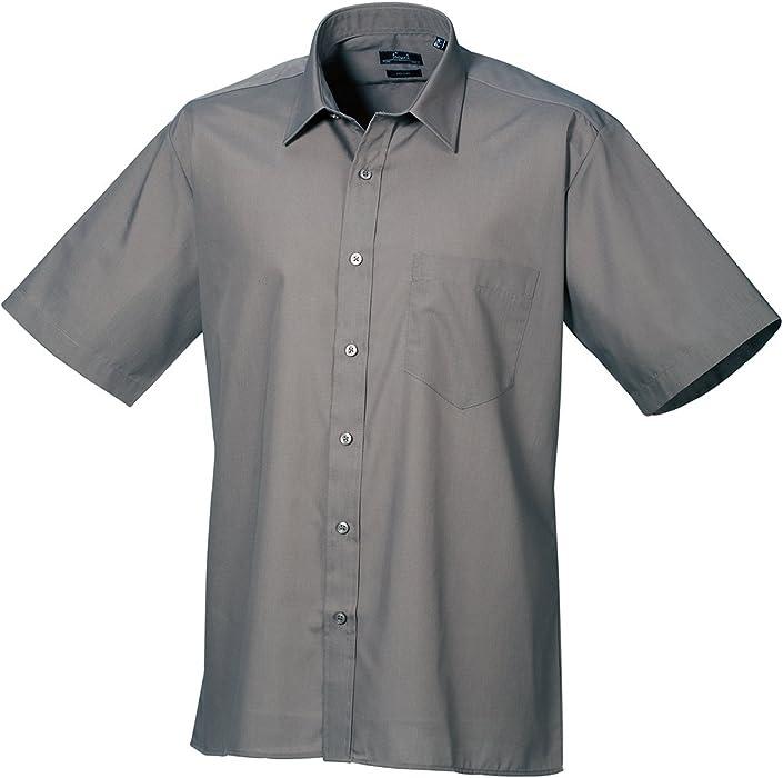 Premier Workwear Poplin Short Sleeve Shirt-Camisa Hombre Gris Gris Oscuro 16: Amazon.es: Ropa y accesorios