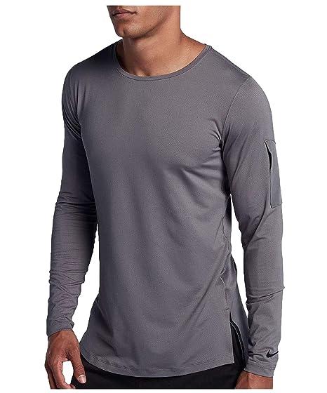 aca62a14 Nike Men's Modern Utility Fitted Long Sleeve Training Shirt  (Gunsmoke/Black, ...