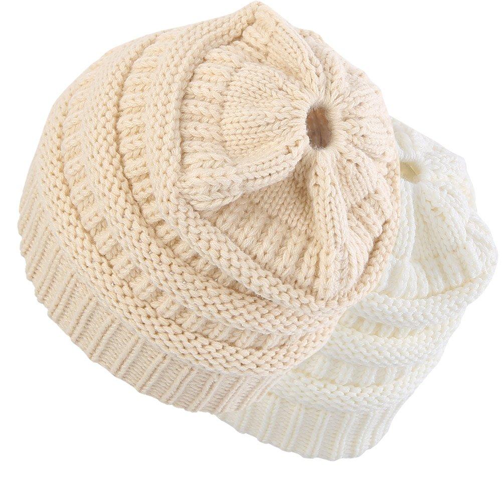 Novawo Trendy BeanieTail Womens Ponytail Messy Bun Beanie Knit Hats